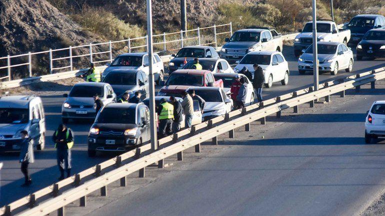 Un choque en cadena entre cinco autos complicó el tránsito en Ruta 7