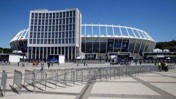 Vista del Olympic Stadium de Kiev en el que se juega la final de la Champions.