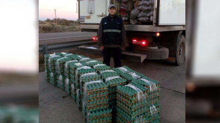 El tráfico no para: secuestran 600 docenas de huevo en Picún Leufú