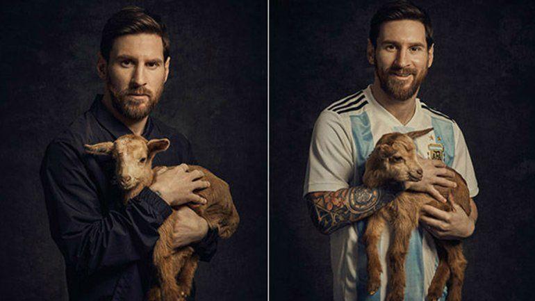 Messi presentó sus nuevos botines rodeado de cabras