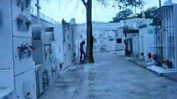 En la cinta, una extraña figura desaparece detrás de un árbol.