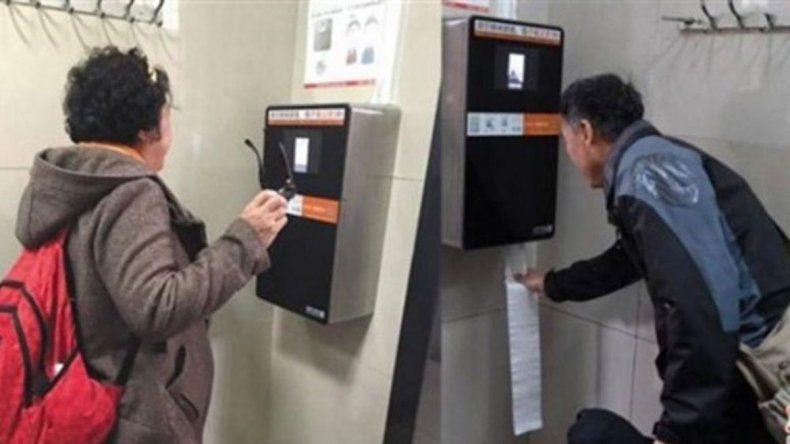 Para ahorrar, máquina da papel higiénico según la cara del usuario