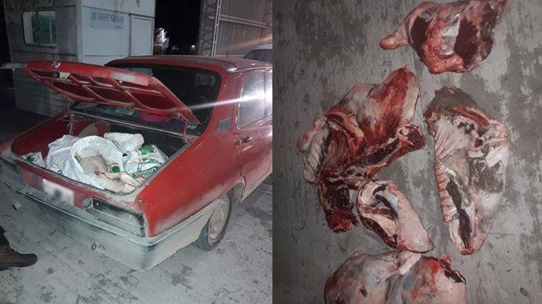 Le encontraron 250 kilos de carne vacuna en el baúl de un Renault 12