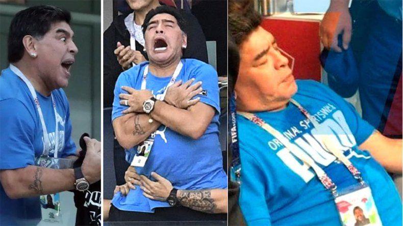Maradona explotó de la emoción por Argentina y terminó descompensado