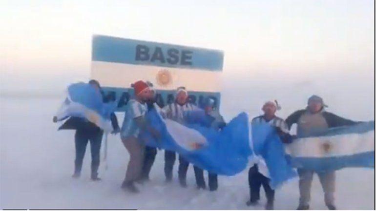 Así se festejó el triunfo de la Selección en la Antártida