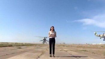 Casi muere decapitada por un helicóptero