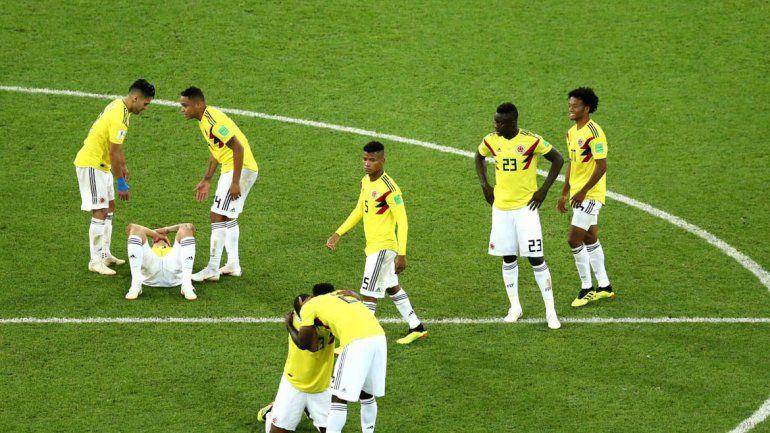 La desazón de todo el plantel de Colombia por la eliminación en la definición por penales ante los ingleses.