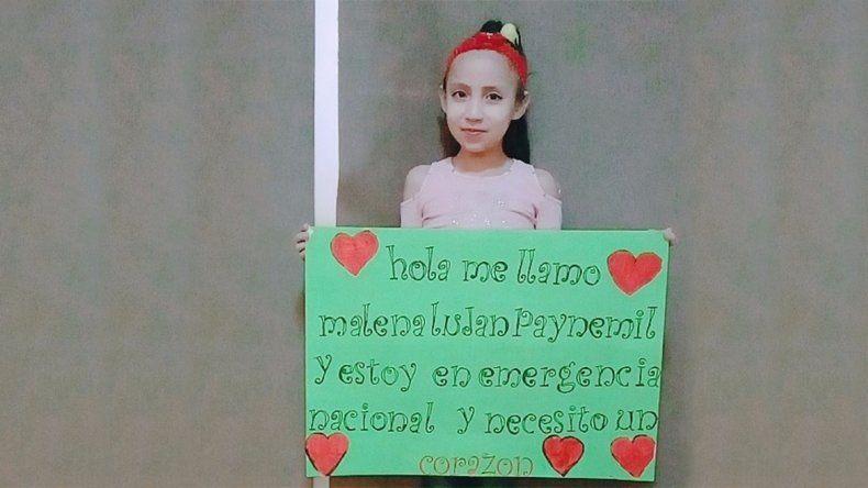 Malena, una neuquina de 8 años aguarda un trasplante de corazón