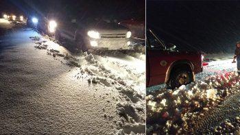 temporal de nieve: rescataron a 40 pasajeros que estuvieron varados 5 horas en la ruta