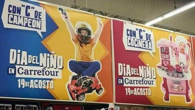 Carrefour lanzó una publicidad sexista por el Día del Niño y pidió perdón