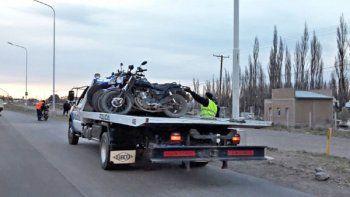 Las motos secuestradas en un camión hace unos días.