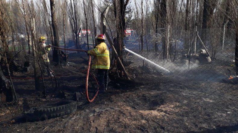Evacuaron un jardín en Plottier por un incendio de pastizales