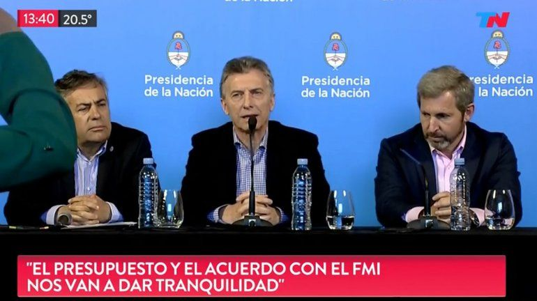 Macri: El presupuesto y el nuevo acuerdo con el FMI nos van a dar tranquilidad