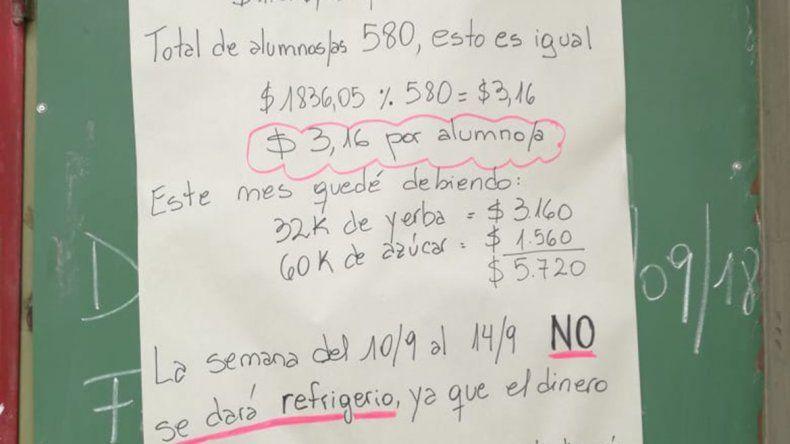 Tuvo que suspender la taza de leche para los alumnos porque no le alcanzó el presupuesto