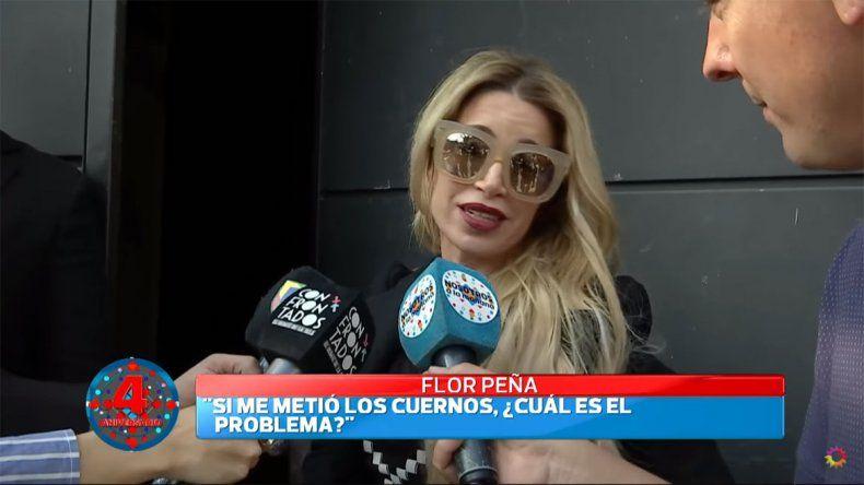 Flor Peña enfrentó a la prensa luego de la viralización de los audios hot de su marido con otra mujer