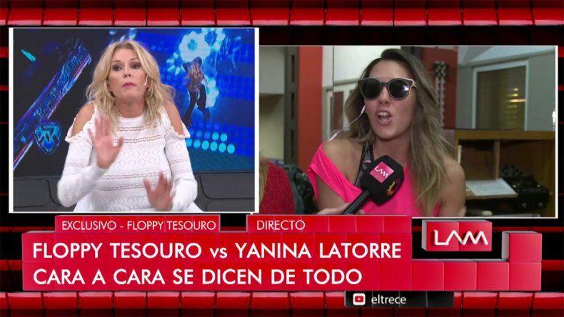 Fuerte cruce entre Yanina Latorre y Floppy Tesouro