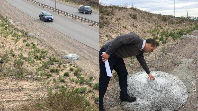 Denuncian que los camiones tiran cemento a la vera de la Ruta 7