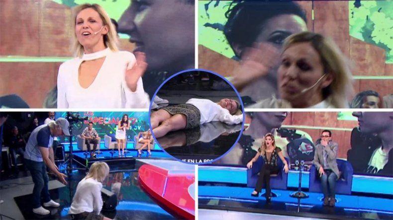 Mirá la terrible caída de Denise Dumas en vivo, en Los Profesionales del Show