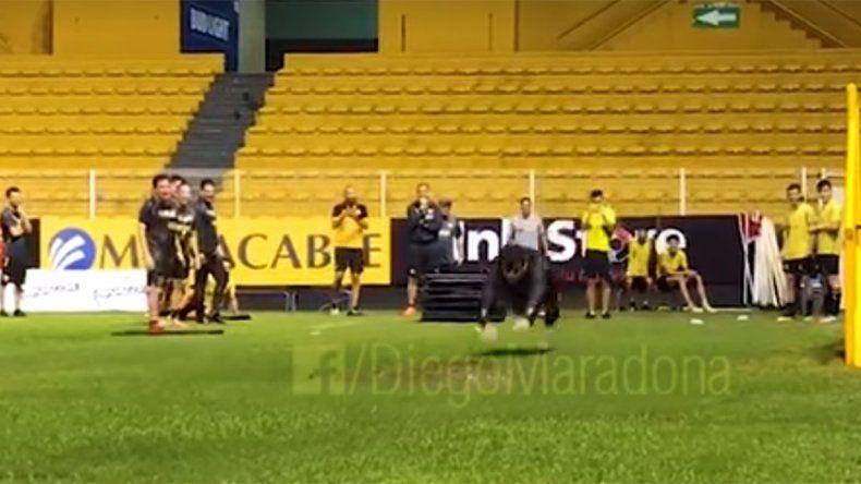 Maradona emuló el festejo por el gol de Palermo en los Dorados de Sinaloa