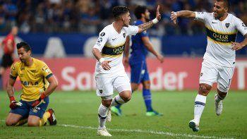 El festejo de los jugadores de Boca por el pasaje a las semifinales de la Copa Libertadores.