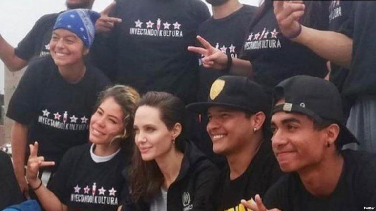 Angelina se reunió con refugiados venezolanos