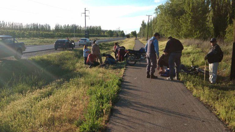 Choque frontal en la ciclovía de El Chañar dejó dos heridos