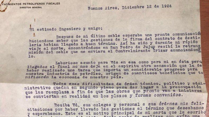 Las cartas de Mosconi a su amigo Cánepa
