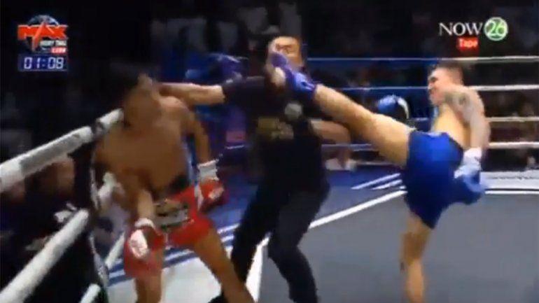 Insólito: luchador de Muay Thai noqueó al rival y al árbitro al mismo tiempo