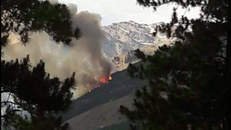 Tras varias horas sofocaron el incendio forestal en Huinganco