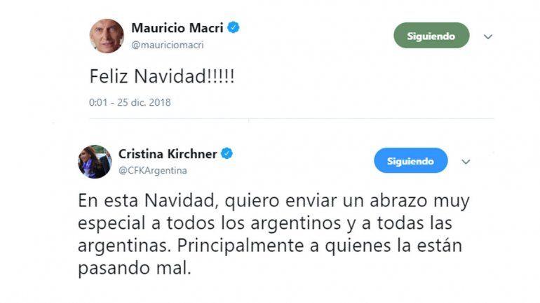 Los saludos de Macri y CFK para Navidad