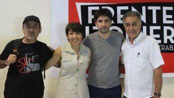 Raúl Godoy, Patricia Jure, Pablo Giachello y Néstor Pitrola, durante la presentación de la lista del Frente de Izquierda para las elecciones del 2019.