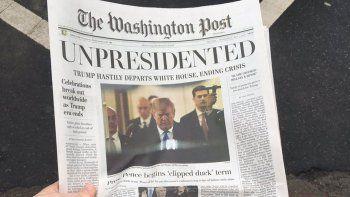 una falsa edicion de un diario puso que trump se iba