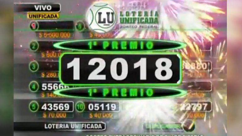 El primer premio del Fin de Fiestas de la Lotería La Neuquina: 12018