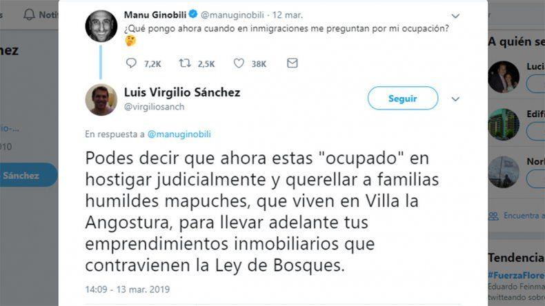El picante mensaje de Twitter de un abogado neuquino a Manu Ginóbili