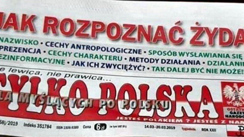 Cómo reconocer a un judío, la tapa de un diario en Polonia