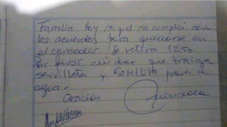 Andacollo: no llevaron servilleta ni agua y la directora no los dejó almorzar
