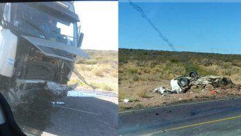 dos personas murieron en un choque entre un auto y un camion cerca de el chocon