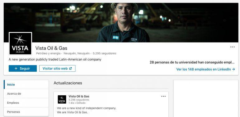 Vista Oil llega a las redes sociales con un perfil en LinkedIn