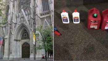 entro a la catedral de nueva york con bidones de nafta