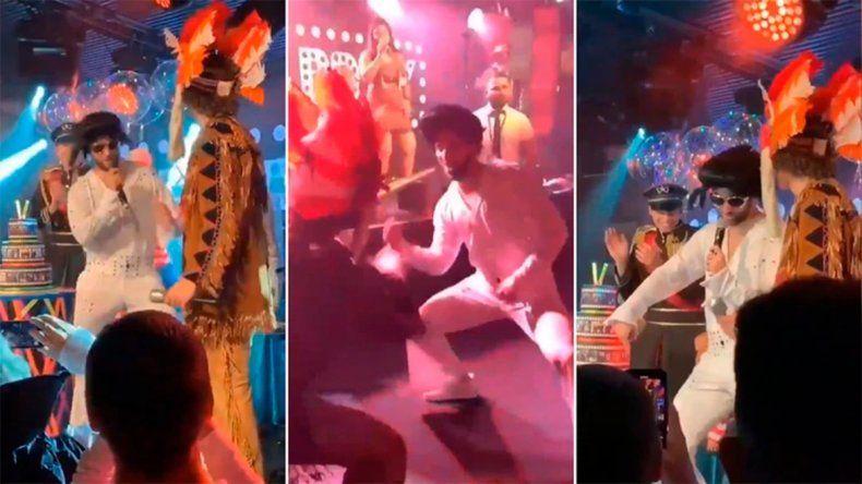 El Pipa Higuaín la rompió imitando a Elvis en la fiesta de David Luiz