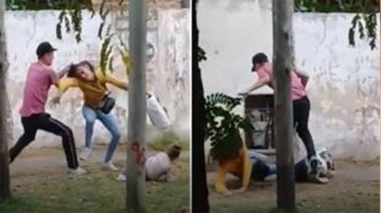 Brutal: un hombre golpeó a su pareja, que caminaba de la mano con su hijita por la calle