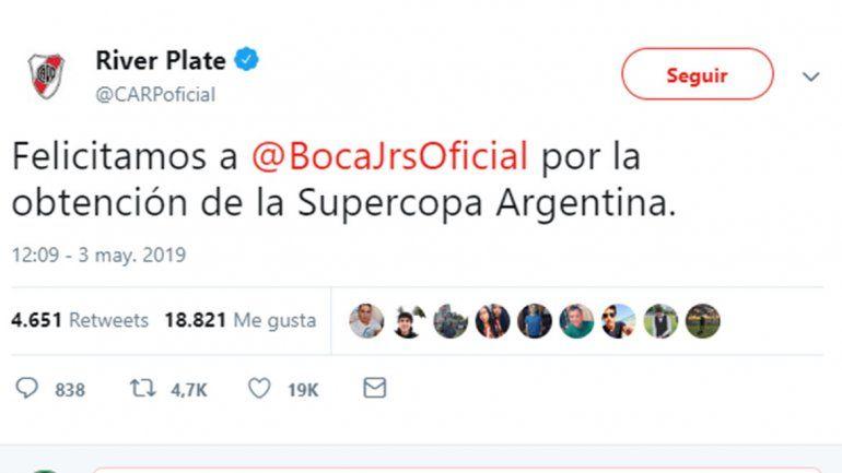 La felicitación con chicana subliminal incluida de River a Boca por la Supercopa