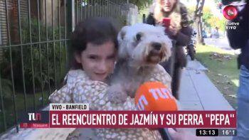 una busqueda con final feliz: en el dia de su cumple, la pequena jazmin encontro a su perra pepa