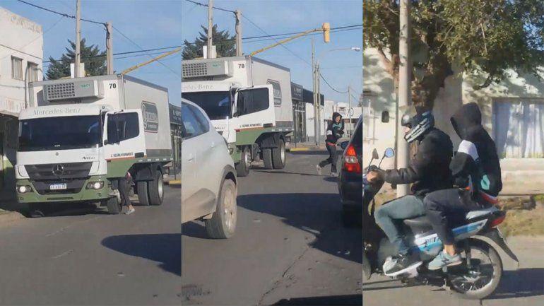A plena luz del día, filmó cómo motochorros robaban