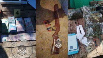 detenidos, droga, armas y plata tras allanamientos