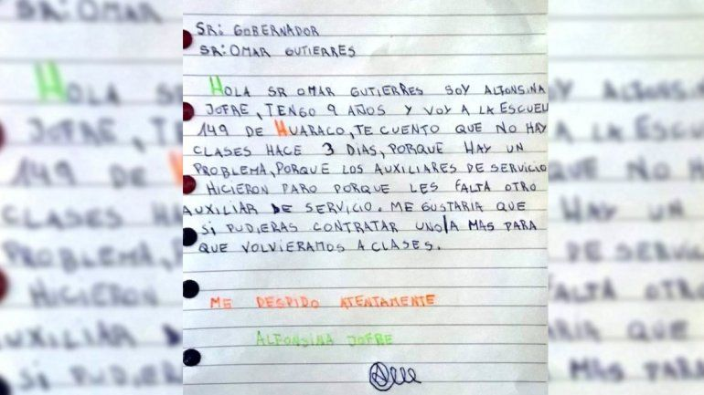 El CPE nombró el auxiliar que reclamaba la pequeña Alfonsina en su carta