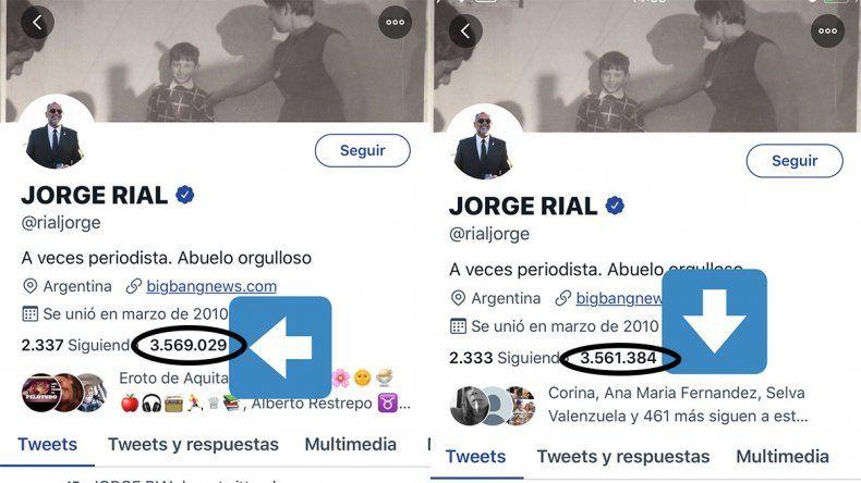 Complot en Twitter: los usuarios lanzaron una campaña para que Rial pierda seguidores