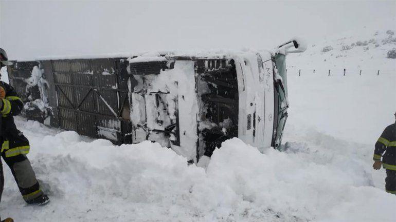 Ruta 40: un colectivo volcó en medio del temporal de nieve