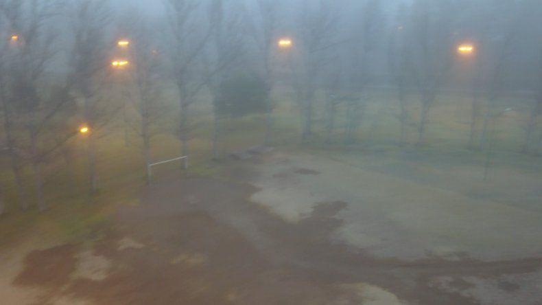 La intensa niebla, desde el drone