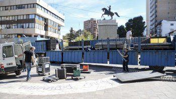 que calles estan cortadas y como son los preparativos en el monumento